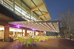 Pergola argus with lighting system in restaurant